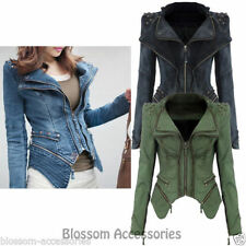 Regular Size Denim Motorcycle Coats & Jackets for Women