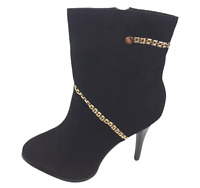 Womens Ladies Black Faux Suede High Heel Chain Shoes Ankle Boots Size UK 4 New