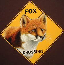 Red Fox Crossing Sign 16 1/2 by 16 1/2 New decor foxes novelty signs animals