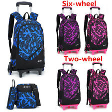 3PCS Kid Teenager School Bag Travel Trolley Backpack Rucksack With 2/6 Wheels