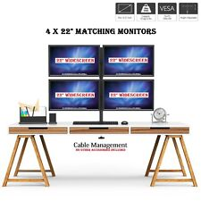 """4 x 22"""" Monitor Computer Quad Screen Display Monitor+Stand Trading Business CCTV"""