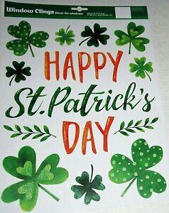 St. Patrick's Day  Window Clings  HAPPY ST. PATRICK'S DAY W/ SHAMROCK'S