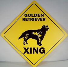 """GOLDEN RETRIEVER XING"" Indoor/Outdoor Dog Crossing 12"" Warning Sign more Breeds"