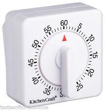 Kitchen Craft Wind Up Countdown Clockwork White 60 Minute Kitchen Craft Timer