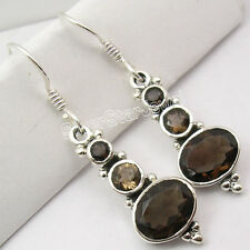 Quartz 3 Stone Girls' Earrings 1.5 Inch 925 Sterling Silver High End Brown Smoky