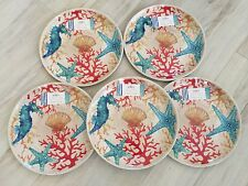 Coastal Collection Set Of 5 Dinner Plates Red Coral Reef,Seahorse, Starfish Blue