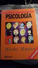 Psicologia Nicky Hayes idioma español Fundamentos De Psicología Texto Libro Raro