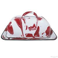 Unique Red and White Marble Effect Enamel Butter Dish, Suitable for Spreads