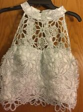 NWT Speechless 2 pc Gray Silver Embroidered Lace Prom Top & Skirt Juniors Size 7