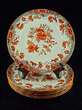 Six Spode Copeland China Salad Plates - S-277 - Rust Flowers, Brown Scrolls