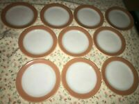 "10 CORNING PYREX Orange AUTUMN BAND Milk Glass Restaurant Ware 8"" Luncheon Plate"