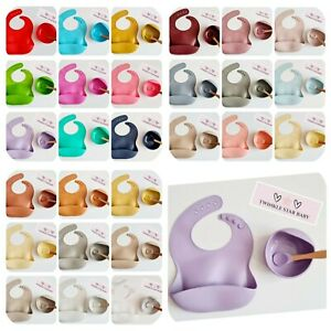 Babies Toddlers Feeding 3 Piece Set Silicone Bib Bowl Spoon UK SELLER fast post