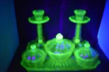 RARE REICH VIKTORIA CZECH URANIUM GREEN & PINK GLASS DRESSING TABLE TRINKET SET