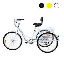 "Ridgeyard 7 Speed 26"" 3-Wheel Tricycle Trike Bicycle Bike Cruise Aluminum Frame"
