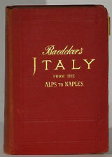 Baedeker's Italy Alps to Naples 1928 with ephemera laid in