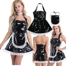 Halloween PVC Leather Women Maid Adult Uniform Fancy Dress Costume Party Outfits