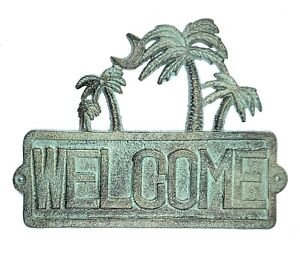 Welcome Sign Plaque with Palm Trees Nautical Tropical Vacation Summer Home Decor