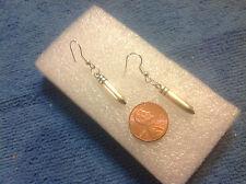 LONG & SLEEK  NEW SILVER GUN 22 BULLETS SHELLS AMMO GUN PUNK PISTOL  earrings