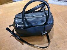 DKNY Medium Satchel Leather Bag with Removable Cross Body Strap Black