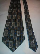 Hardy Amies Men's Vintage Tie in Charcoal Grey Blue and Brown Geometric Pattern