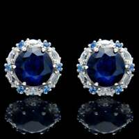 2.00 CT Blue Sapphire Halo Marquise Diamond Stud Earrings 14k White Gold Over