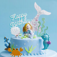 Crown Mermaid Laser Blue Fishtail Cake Topper Party Supplies Birthday Gift