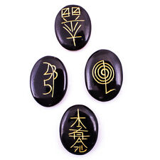Reiki Karuna Symbol Oval Shape 4 Pcs Set Black Tourmaline Spiritual Gemstones