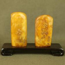 PAIR OLD CARVED WITH FIGURES CHINESE CALLIGRAPHY IN ANTIQUES ShouShan STONE SEAL