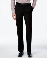 $215 CALVIN KLEIN Mens Slim Fit Trousers Black Solid FLAT FRONT DRESS PANTS 34 W