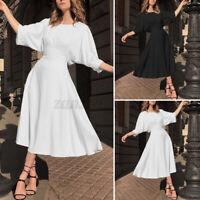 Damen Kurzarm Kleid Abendkleid Rundhals Elegant Linen Party Cocktail Maxikleid