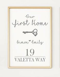 New Home First Home Personalised Gift Keepsake A4 Poster Print PO414