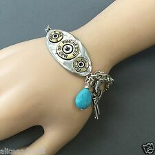 Antique Silver Chain Winchester Pistol Turquoise Stone Charms Bangle Bracelet