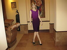 NWT Moda International Ombre Purple Ruched Cowlneck Drapey Crossback Dress, M.