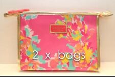 2 x Lilly Pulitzer  Estee Lauder  Floral Print Cosmetic Makeup Bag - Waterproof