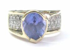 Fine Oval Gem Tanzanite Diamond Yellow Gold Jewelry Ring 14Kt 3.53Ct