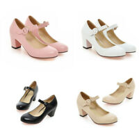 Women Sweet Ankle Strap Mary Jane Court Shoes Round Toe Mid Block Heels Pumps