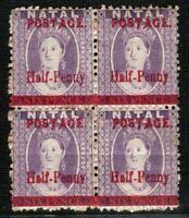 S.Africa NATAL QV Chalon BLOCK{4} ½d on 6d VARIETIES 1895 Mint MM/MNH 2RBLUE136