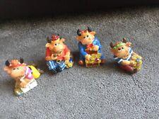 Set of 4 x Cute Bull Resin Type Ornaments in pirate dress