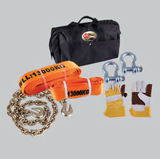 Extreme challenge recovery and towing kit chain straps shackles gloves carry-bag