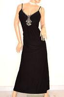 ABITO NERO LUNGO donna elegante strass cristalli vestito da sera cerimonia E135