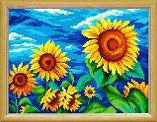 "Cross Stitch DIY Kit / Printed Canvas ""Sunflowers"" 24x32 cm"