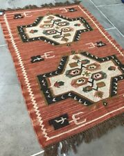 100% Wool Kilim Rust Brown Green 150x215cm Quality Hand Made Reversible rug
