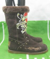 Brown Hot Ed hardy Women mid-calf Suede Sexy Boots Size 6