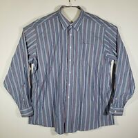 LL Bean Mens Shirt Button Up Long Sleeve 100% Cotton Size 2XL Regular Striped