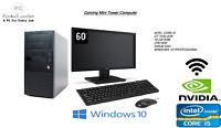 Fast Full Set i5 Gaming Tower PC Nvidia GT 1030 16GB 2TB 240GB SSD Windows10PRO