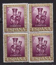 España 1961. Arte Románico bloque de 4 variedad con salto en dentado. MNH. **.