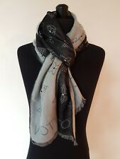 AUTHENTIC LOUIS VUITTON Black Gray Monogram Logo Cashmere Silk Scarf Shawl  Wrap 0554e9942e3