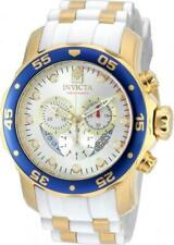 Invicta Men's White Blue Dial Analog Quartz Two Tone Silicone Strap Watch 20293