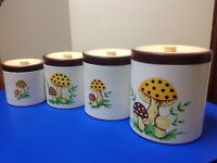 Sears Roebuck and Co. 1978 Vintage Japan kitchen canisters mushroom design rare