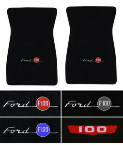 New! 1953 - 1973 Ford F-100 CARPET Black Floor Mats w/ Embroidered Logo Pair 2pc